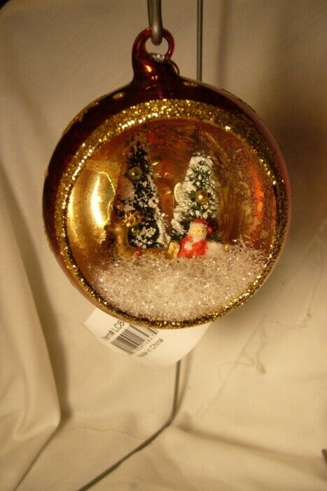 Bethany Lowe Santa's Visit Glass Indent Ornament Red