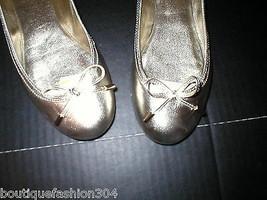New Womens Lauren Ralph Lauren Metallic Gold Flats 6 Bow Shoes Leather D... - $57.60