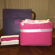 NWT Tory Burch Marion Quilted Center-zip Tote in Dark Peony - £294.73 GBP