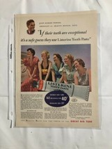 Vtg Listerine Tooth Paste John Powers Color Women Print Ad Camels Cigarette Back - $9.74