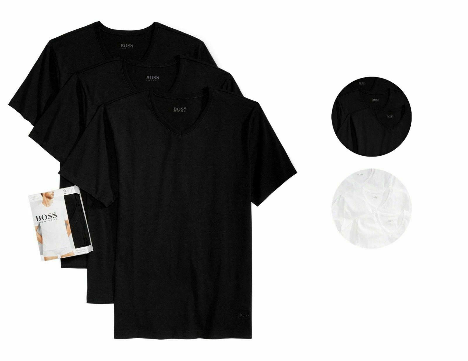 Hugo Boss Men's 3 Pack Pure Cotton Regular Fit V-Neck Shirt T-Shirt 50325386