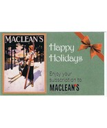 MacLeans Magazine Postcard Happy Holidays Gift Subscription - $1.89