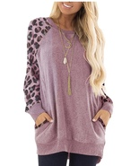 Leopard Printed Pullover Sweatshirt Womens Pink Small - $10.00