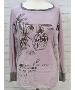 "CAbi ""Beauty of Love"" T-Shirt Knit Top Long Sleeve Side Ruche Sz XS Purp... - $14.36"
