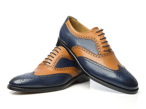 Handmade Men Tan and navy blue Formal Shoes, Men Two tone brogue Leather Shoes