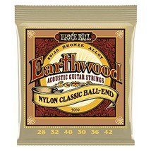 Ernie Ball Earthwood Folk Nylon Ball End Set, Clear and Gold - $10.08
