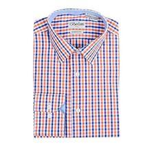 Berlioni Italy Boys Kids Toddlers Checkered Plaid Dress Shirt (Orange, 6)