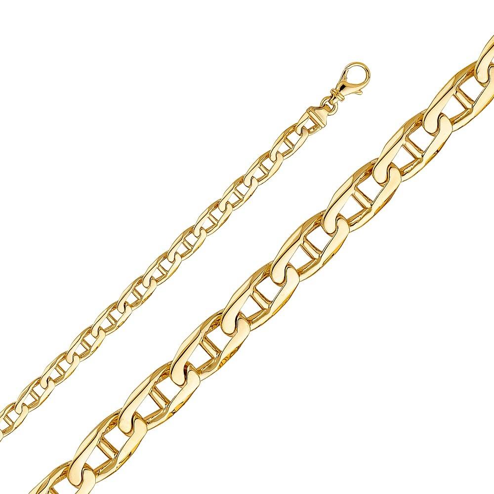 Men's 14K Yellow Gold 6.6mm Fancy Handmade Mariner Bracelet