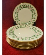 """Lenox Holiday Dimension Set of 7 Dinner Plates Christmas Holly 10 3/4"""" - $98.01"""