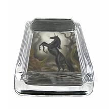 "Unicorns D7 Glass Square Ashtray 4"" x 3"" Smoking Cigarette Mythical Creature - $12.82"