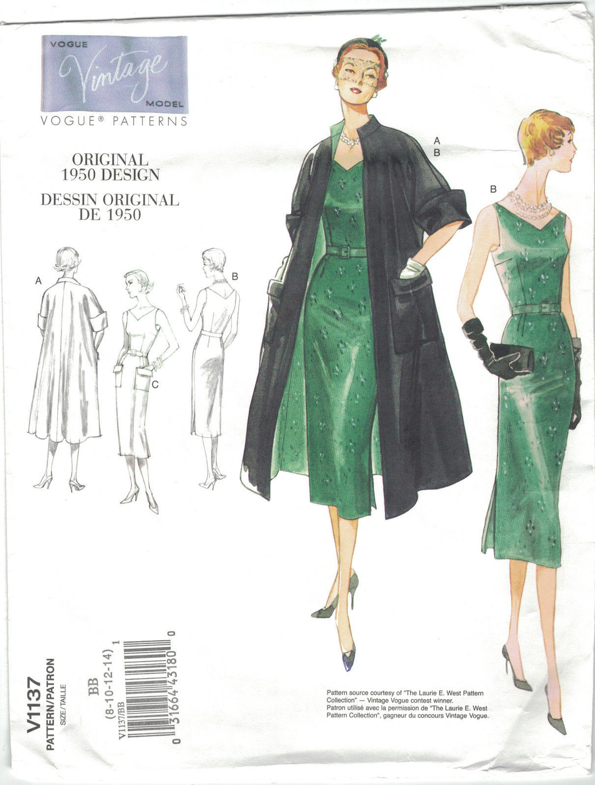 Primary image for Vogue Vintage 1137 Coat & Slim Dress 1950 Reissue Size 8 10 12 14  Pattern Uncut