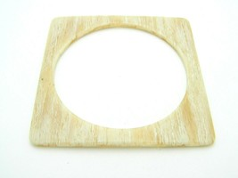 Square Lucite Faux Wood Beige Vintage Bangle Bracelet - $19.79