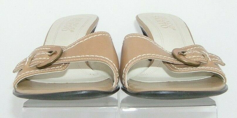 Franco Sarto brown leather buckle slip on slide mule sandal heels 7.5M 7627 image 9
