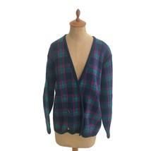 Vintage Women's Pendleton Tartan Plaid Knit Double Breasted Cardigan Swe... - $23.33