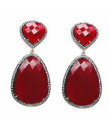 2.65Ctw Rose Cut Diamond Ruby Silver Victorian Style Earrings VS903 - $264.96