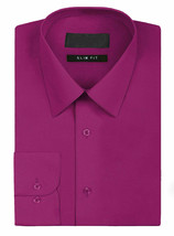Omega Italy Men's Slim Fit Button Up Long Sleeve Magenta Dress Shirt w/ Defect