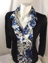 dreamcastssbarn Women Blouse Slim Fit Ruffle Black Blue Geometric Size M - $17.72