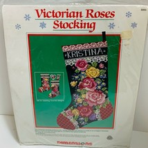 Vtg 1989 Dimensions VICTORIAN ROSES Christmas Stocking Kit #9065 NEW & S... - $53.00