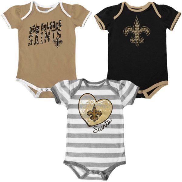 Infant Girl's New Orleans Saints Bodysuit NFL Baby Field Goal Set of 3