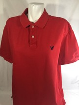 American Eagle Men Red Button Up Shirt Short Sleeve Athletic Fit Size XL - $12.19