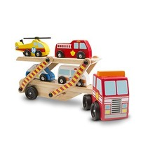 Melissa & Doug Emergency Vehicle Carrier Wooden - $14.27