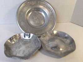 Lot Of 3 Vtg Forged / Wrought Aluminum Serving Candy Bowl Floral Leaf De... - $19.50