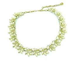 CORO Signed Modern Abstract Textured Leaf Gold Tone Choker Necklace Vintage - $21.03