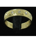 Vintage 10k Yellow Gold 3 Diamond Wedding Band Sz 9.25 Men's Anniversary... - $175.00