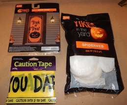 Halloween Outside Decor Kit Door Cover 200ft Of Spiderweb 50ft Caution T... - $8.49
