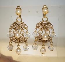 "Delicate Vintage Signed Austria Crystal Chandelier Clip on Earrings 2.5"" - $26.00"