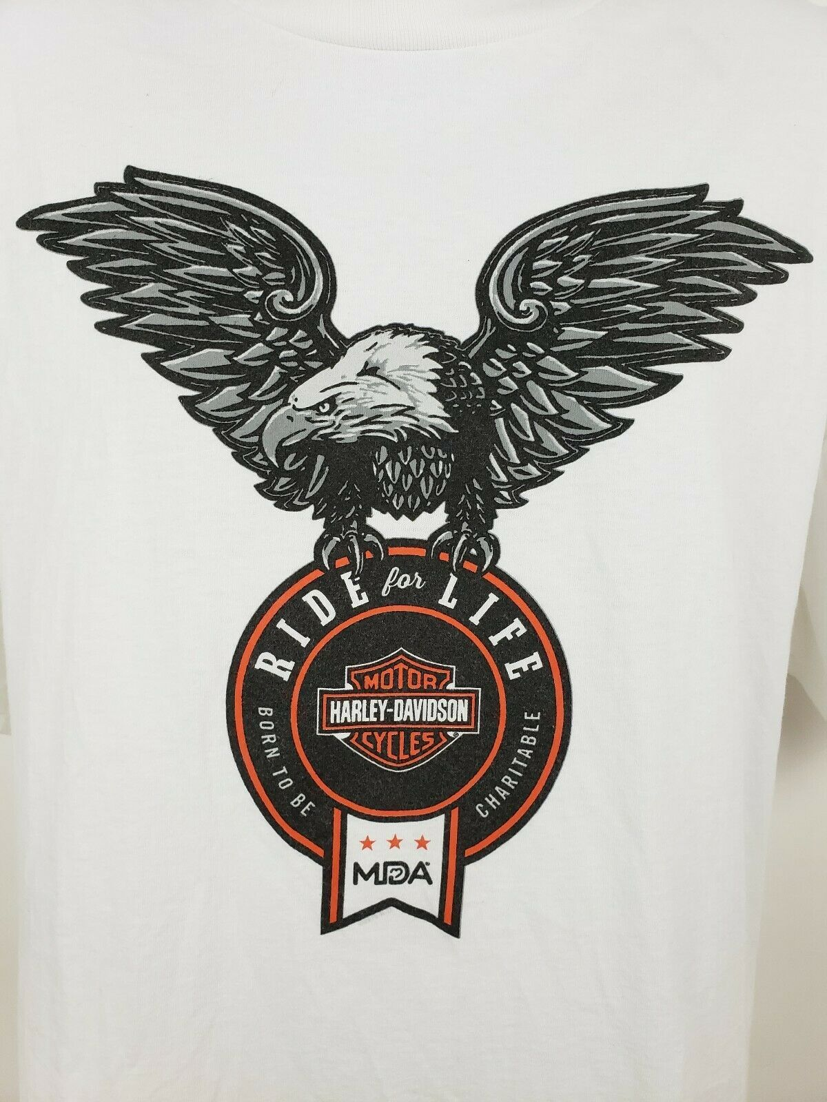 Harley Davidson Ride For Life Charity T-shirt White Size XL Eagle image 2
