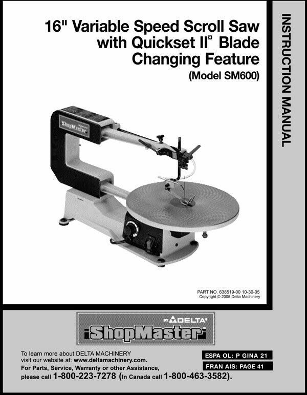 "Primary image for Delta 16"" Variable Speed Scroll Saw Instruction Manual Model SM600"