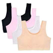 VeaRin Girl's Seamless Foam Bra Cotton Crop Bralette Camisole Pack of 4 ... - $20.60