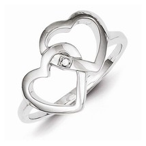 STERLING SILVER DIAMOND ACCENT INTERWINED HEART / HEARTS  RING - SIZE 8 - £26.07 GBP
