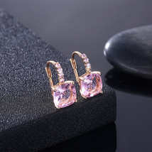 Rose Gold Plated Pink Rose Crystal Dangle Earring made with Swarovski Cr... - $9.79