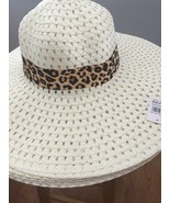 ( WHITE) Sun-Floppy-Hat--Beach-Summer-Wide-Brim-With-Animal-Print-Ribbon - $14.84