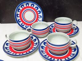 4 Block Hearthstone Chili Vista Alegre Cups and Saucers Red White Blue S... - $53.46