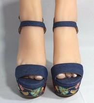 Jessica Simpson Divella Damen High Heels Offen Sandalen Denim Stickerei Größe 7 image 2