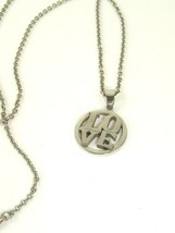 Vtg Love spell out silver tone pendant Necklace  - $14.85