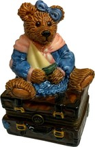 Boyds Bears Bearware Pottery Bear on Trunk Suitcase w/ Sailboat Trinket ... - $19.99