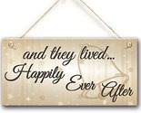 "Meijiafei And They Lived Happily Ever After Hanging Wedding Day Plaque Sign 10""x"