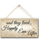 "Meijiafei And They Lived Happily Ever After Hanging Wedding Day Plaque Sign 10""x - £9.92 GBP"