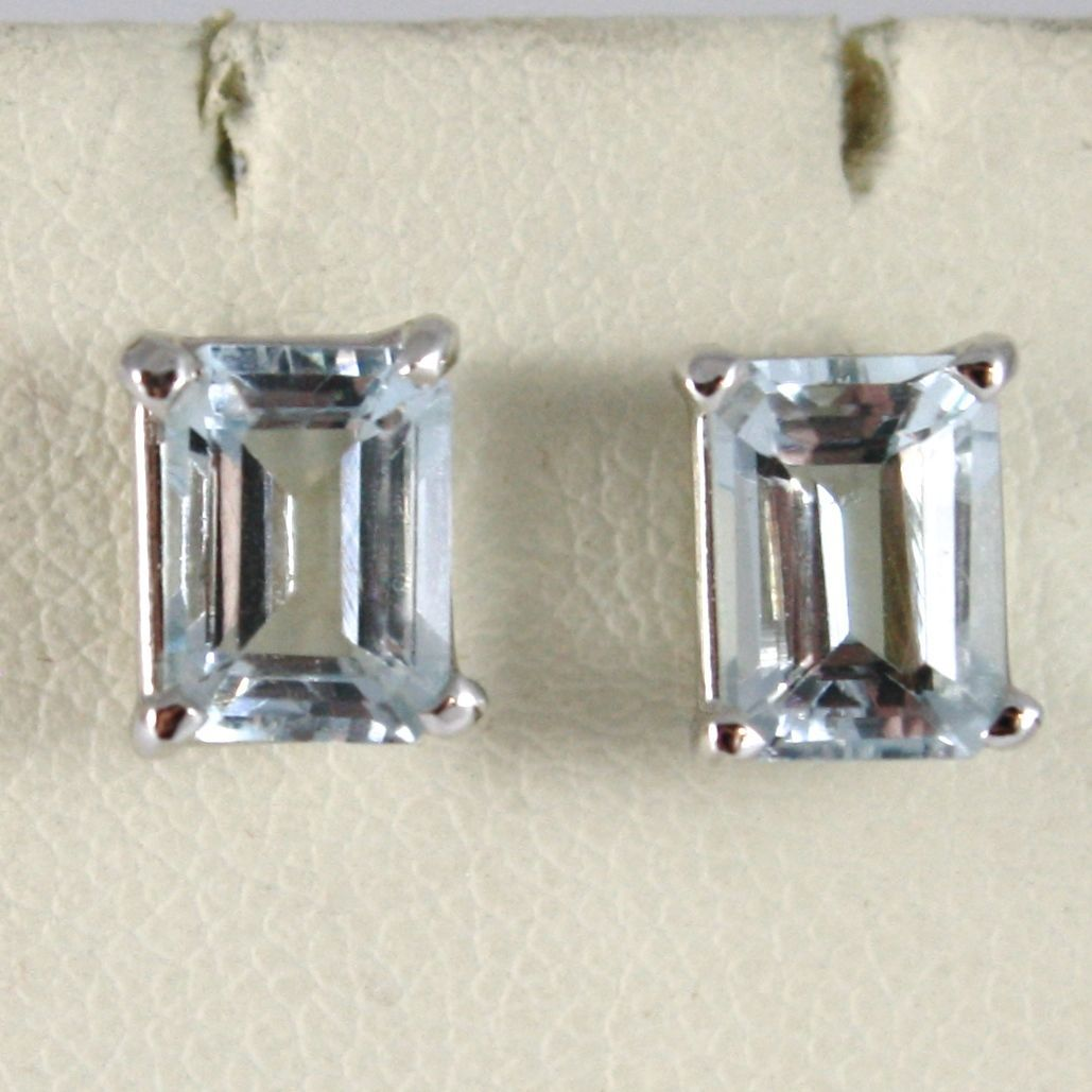 SOLID 18K WHITE GOLD EARRINGS, WITH AQUAMARINE, EMERALD CUT, 2.00 TOTAL CARATS