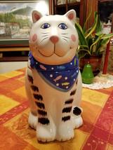 "Vintage Cat Cookie Jar 11"" Tall White Cat w/ Black Stripes Blue Fish Ban... - $39.99"