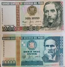 2 Notes from Banco Central De Reserva Del Peru UNC: Mil Intis & Diez Mil... - $1.95