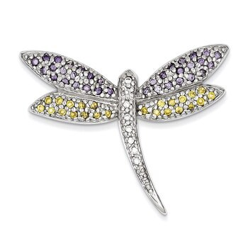 Primary image for Lex & Lu Sterling Silver Purple, Yellow & Clear CZ Dragonfly Pin