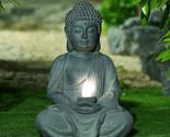 Meditating Buddha Garden Statue w/Solar Light, Sitting Asian Zen Yard Sculpture
