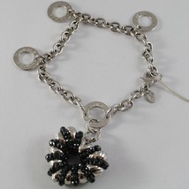 925 STERLING SILVER BRACELET WITH SPINEL FINELY WORKED BIG HEART PENDANT, ITALY image 1