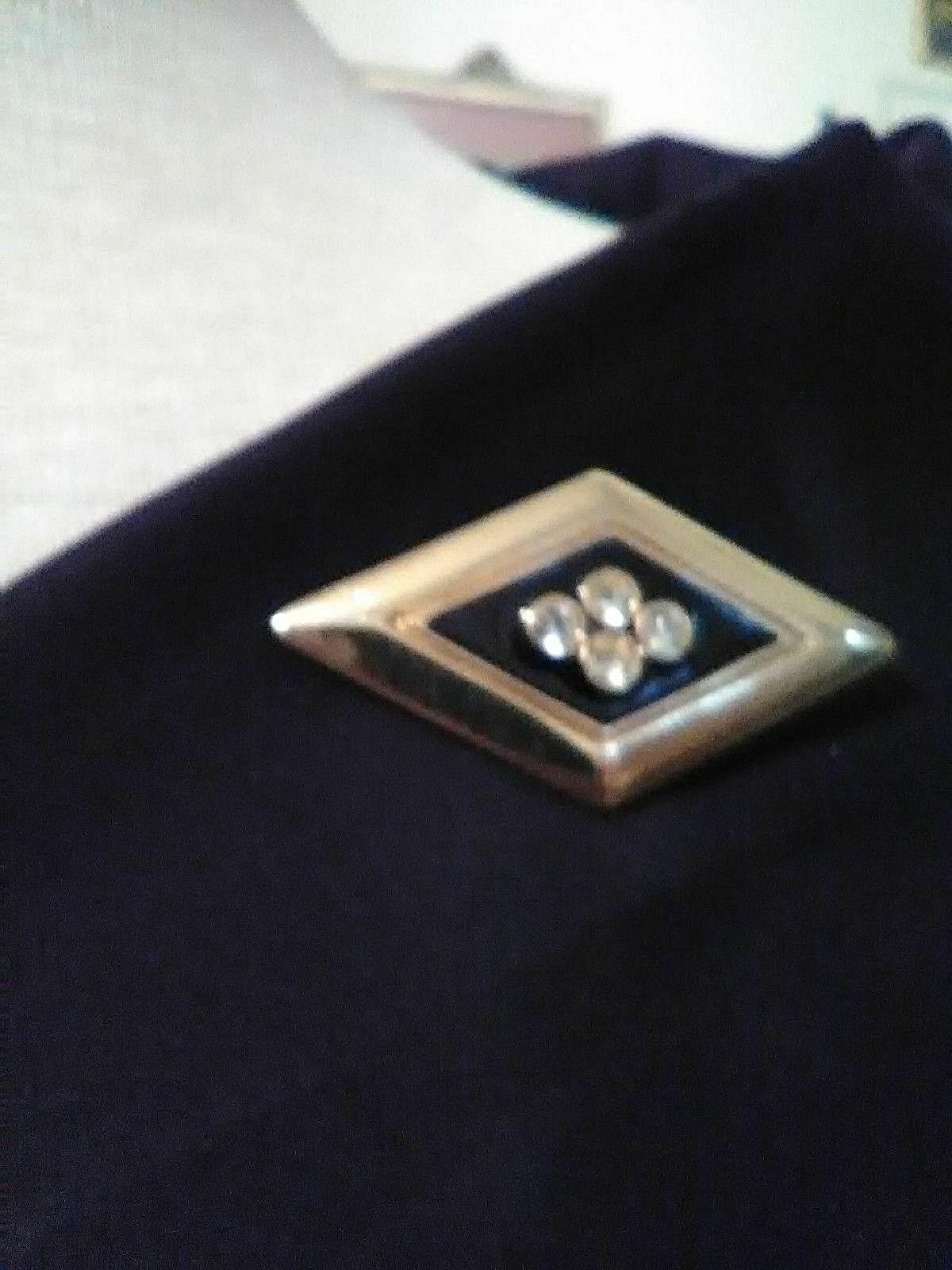 Primary image for VINTAGE GOLDEN PIN BROOCH GEOMETRIC BLACK ENAMEL JEWELLED DIAMOND SHAPE