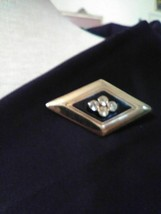 VINTAGE GOLDEN PIN BROOCH GEOMETRIC BLACK ENAMEL JEWELLED DIAMOND SHAPE - $20.00